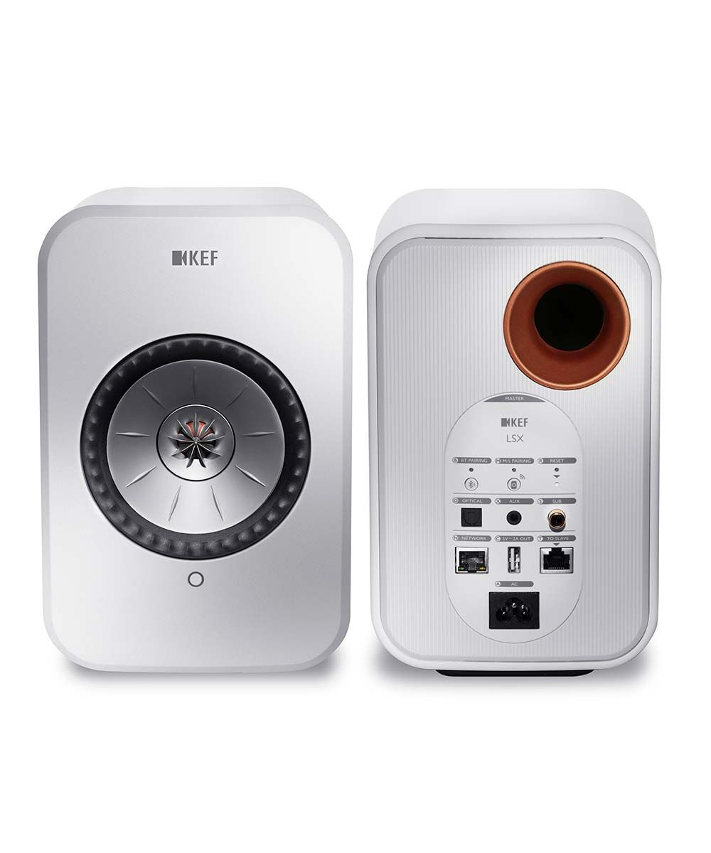 KEF LSX Best Wireless desktop speakers in gloss white, front and back.