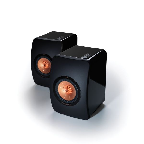 KEF LS50 Gloss Black / Rose Gold Speakers